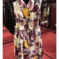 Cosmicchic Runway Print Midi Dress Summer Sexy V neck Lady Beach Dress Sleeveless Elastic Waist High Quality Flower Dress