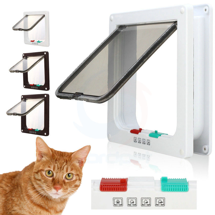 New Abs Plastic 4 Way Cat Kitten Dog Lock Lockable Safe Flap Door Gate Brown White 3 Size