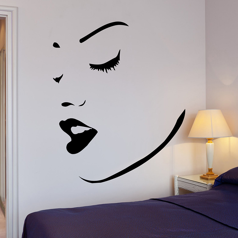 Sexy Women Face With Lips Wall Decals Makeup Spa Wall Stikcer Perfect Sexy Girl Art Mural Home Decoration Wallpaper H061
