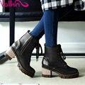 Vallkin tamanho 34-43 casual brown zipper sapatos de plataforma das mulheres grossas de Salto alto Botas PU Tornozelo Lace Up Preto Das Senhoras Da Motocicleta botas