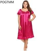 Плюс Размеры оборками пижамы v-образным вырезом короткий рукав ночная рубашка Для женщин сексуальная ночная сорочка Повседневное Sleepdress спо...