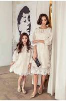 Retail Family Outfits Mother And Daughter Dress Long Sleeve White Lace Dresses Kids Parent Family YY001