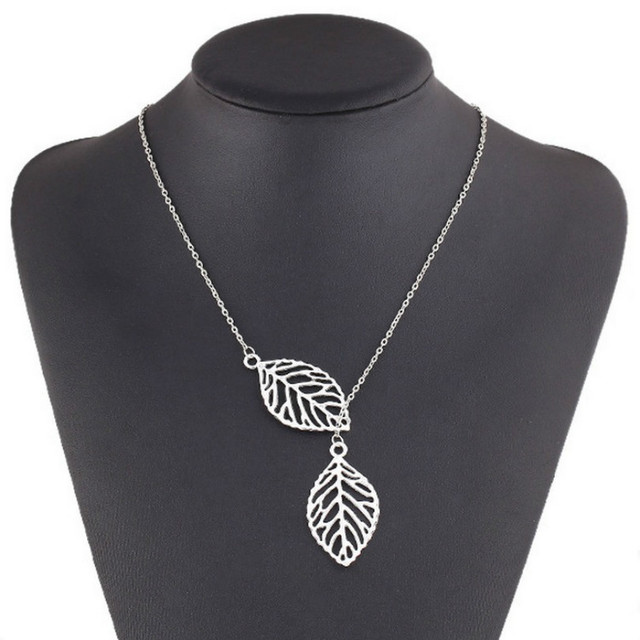 Leaf Pendant Necklace Multi - Layer Statement Women Necklace Jewelry 2