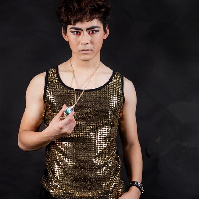 Мода певец стрейч блестками жилет костюмы ну вечеринку показать сценический танец одежда бар ночной клуб DJ оборудование костюмы