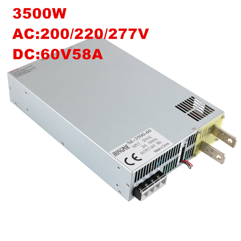 1PCS 3500W 60V 58A DC 0-60v power supply 60V 58A AC-DC High-Power PSU 0-5V analog signal control SE-3500-60