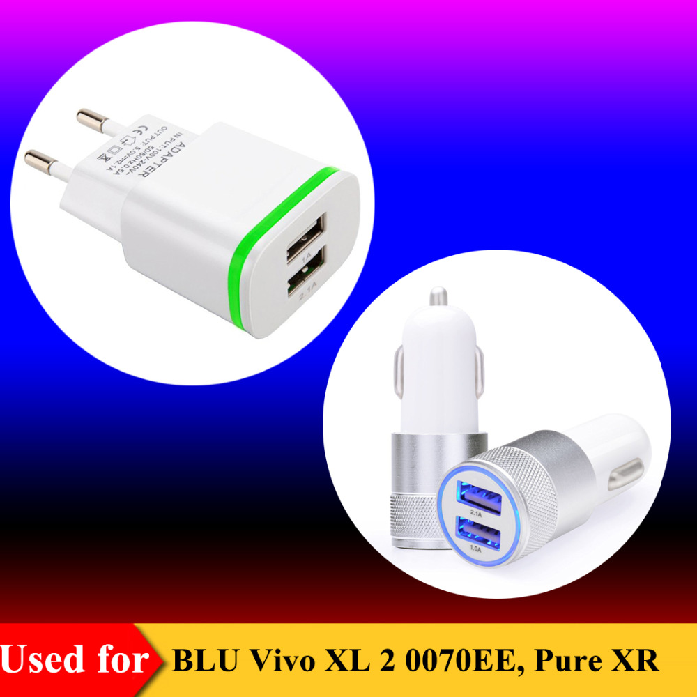 EU Plug AC Source Dual USB Wall Charger Adapter for Blu Vivo XL 2 0070EE Travel Charger for BLU Pure XR / Vivo 5 Car Charger