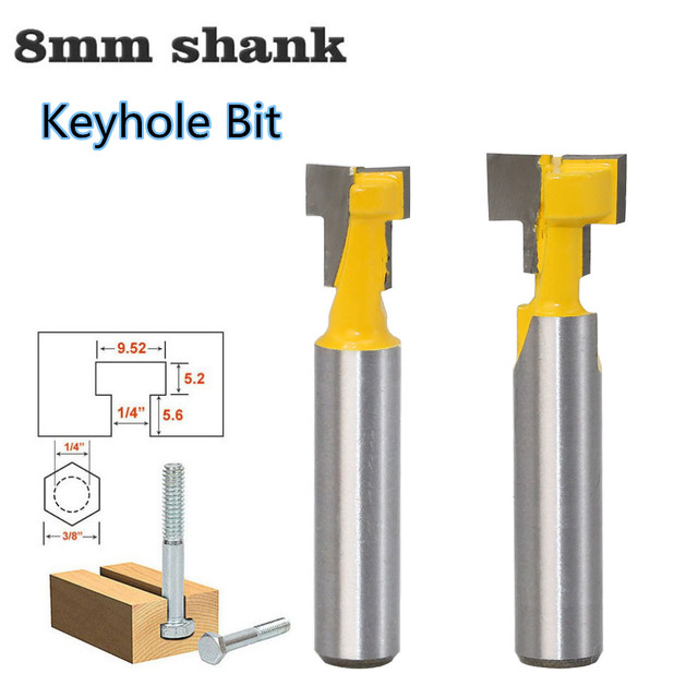 1pc 8mm Shank T Track Slotting & T Slot Keyhole Cutter Wood Router Bit Steel Handle 3/8 & 1/2 Length Cutter For Wood