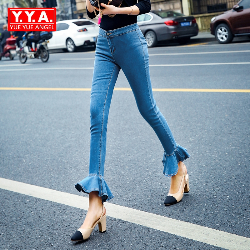 Autumn Winter Women Fashion Ruffles Flared Jeans Boot Cut Bell Bottom Jeans Denim Female Trousers Cute Flare Slim Denim Pants dabuwawa 2016 slim fashion gray jeans women autumn