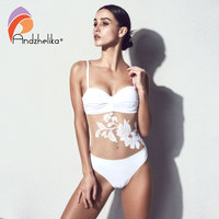 Andzhelika Bikini Push Up Swimwear 2018 New Sexy Floral Mesh One Piece Swimsuit Women Bathing Suit