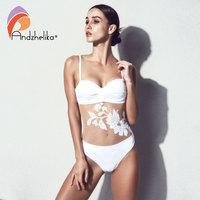 Andzhelika Bikini Push Up Swimwear 2018 New Sexy Floral Mesh One Piece Swimsuit Women Bathing Suit