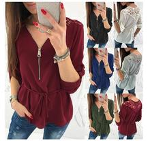 Women Chiffon Blouse Sexy Zipper V Neck lace up Back Lace Shirt Elegant Casual Button Half Sleeve Tunic Tops Blusas