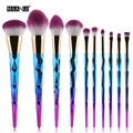 10Pcs Rainbow Diamond Soft Purple Multifunction Makeup Brush Set Foundation Eye Lip Liner Shadow Contour Blusher Cosmetic Beauty