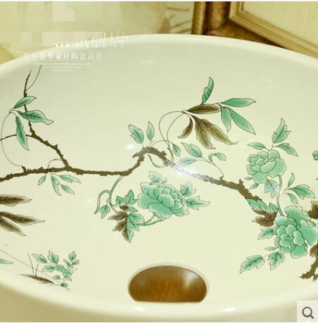 Ceramic basin round art on stage Contracted basin sink hotel The hotel bathroom sinks in Bathroom Accessories Sets from Home Garden
