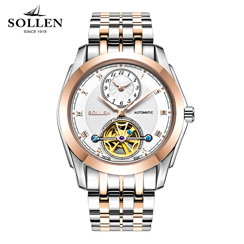 SOLLEN 2017 New Famous Brand Luxury Watch Men Business Mechanical Luminous Waterproof Wristwatch Watches