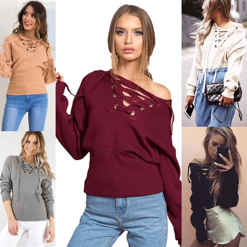 Lace up winter <font><b>sweater</b></font> women Casual <font><b>loose</b></font> Full Pullovers belt <font><b>ribbed</b></font> top knitwear Sexy jumper Elastic hem pullover outwear
