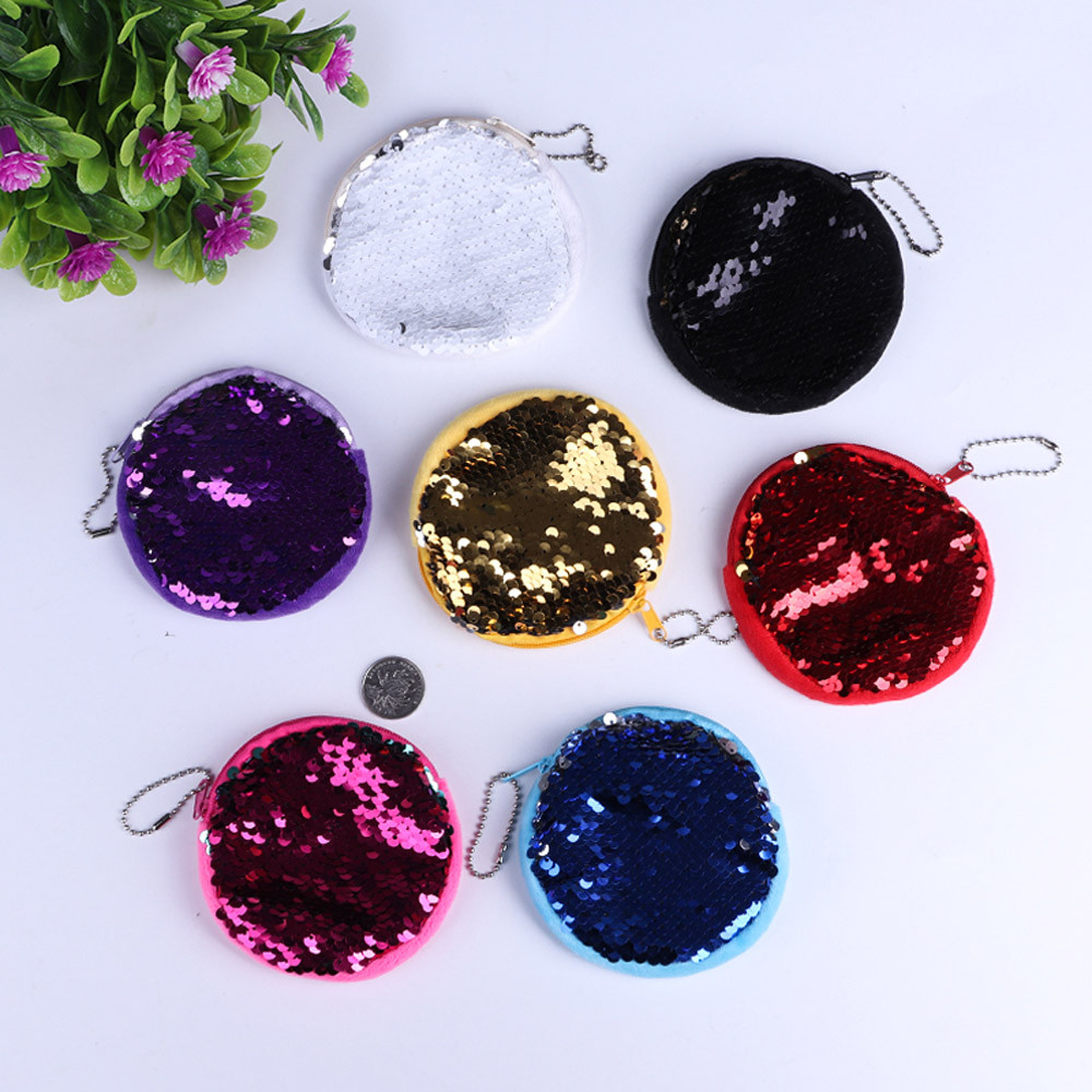 Ladies Sequins Classic Retro Small Change Coin Purse Little Key Car Pouch Money Bag Girl's Mini Short Coin Holder Wallet Gift