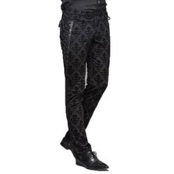Gothic Punk Victoriaanse Heren Broek Zwart Steampunk Fitness Casual Mannelijke Broek Afslanken Ingericht Voeten Broek Grote Maten S-XXXL