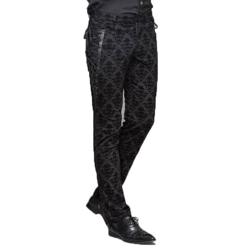 Gotik Punk Victoria Erkek Pantolon Siyah Steampunk Spor Rahat Erkek Pantolon Zayıflama Gömme Ayak Pantolon Büyük Boyutları S-XXXL