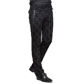Gothic Punk Victorian Mens Pants Black Steampunk Fitness Casual Male Trousers Slimming Fitted Feet Pants Large Sizes S-XXXL