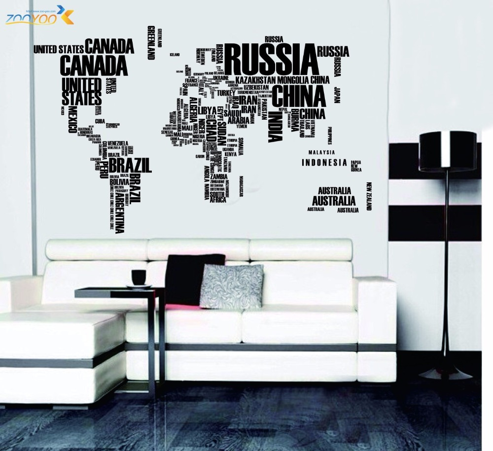 Big Size 190*160cm/75*45.5inch World Map Wall Stickers Country Name English Letter Funny Decal For DIY Home Office Decoration
