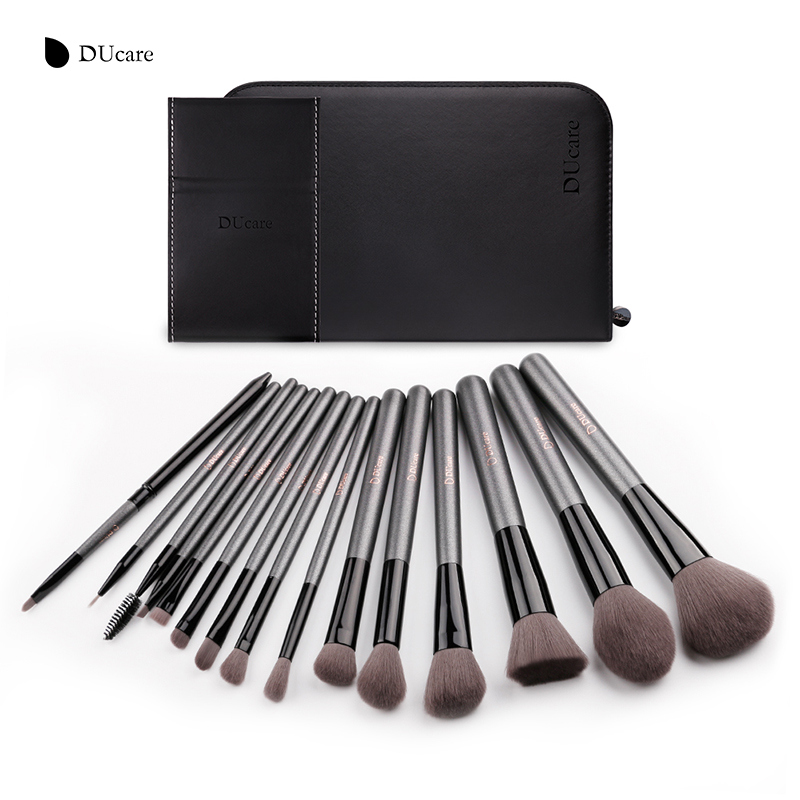 DUcare Professional 15pcs Makeup Brushes Set Powder Foundation Eyeshadow Eyeliner Lip Brush Tool Make Up Brush Set for Beauty lcbox professional 40pcs cosmetic makeup brushes set blusher eyeshadow powder foundation eyebrow lip make up brush with bag