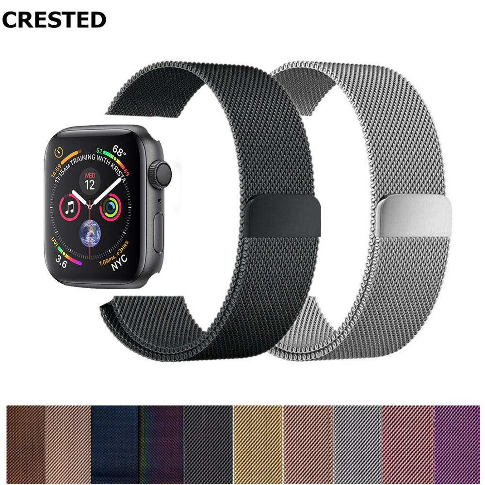 Milanese Loop strap For Apple Watch 4 band 42mm 44mm 38mm 40mm iwatch 3 2 1 band Stainless Steel accessories wrist Bracelet belt-in Watchbands from Watches on Aliexpresscom  Alibaba Group