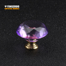 2017 40mm 5pcs High Quality Color Purple Crystal Diamond Glass Handle Grade  Furniture Accessories Drawer Cabinet Hardware Knob