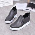 Clássico mulheres sapatos altura crescente sapatos de inverno morno mulher mulheres sapatos de caminhada de pelúcia moda senhora creepers zapatos mujer