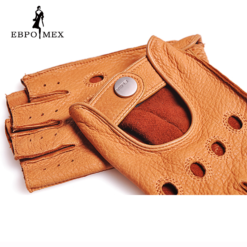 Fashion 2016 Men Deerskin Gloves Wrist Half Finger Driving Glove Solid Adult Fingerless Mittens Real Genuine