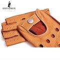 Moda 2016 Homens Camurça Luvas Metade do Dedo de Pulso Luvas Sem Dedos de Condução Luva Adulto Sólida Couro Genuíno Real
