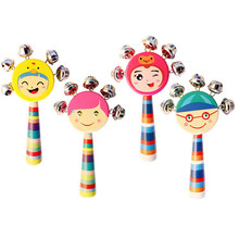 hot sale 1pc cute Wooden stick Hand Shake bell Baby Rattles Jingle bells Infant Shaker Rattle ring educational toy gift(China)