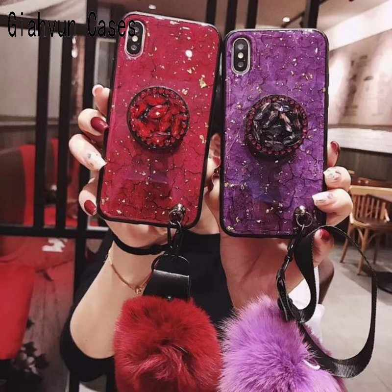 Phone cases phone case Luxury Marble Glitter Holder Coque Fur pompom For Samsung Galaxy J4 J6 J8 2018 J6plus phone case