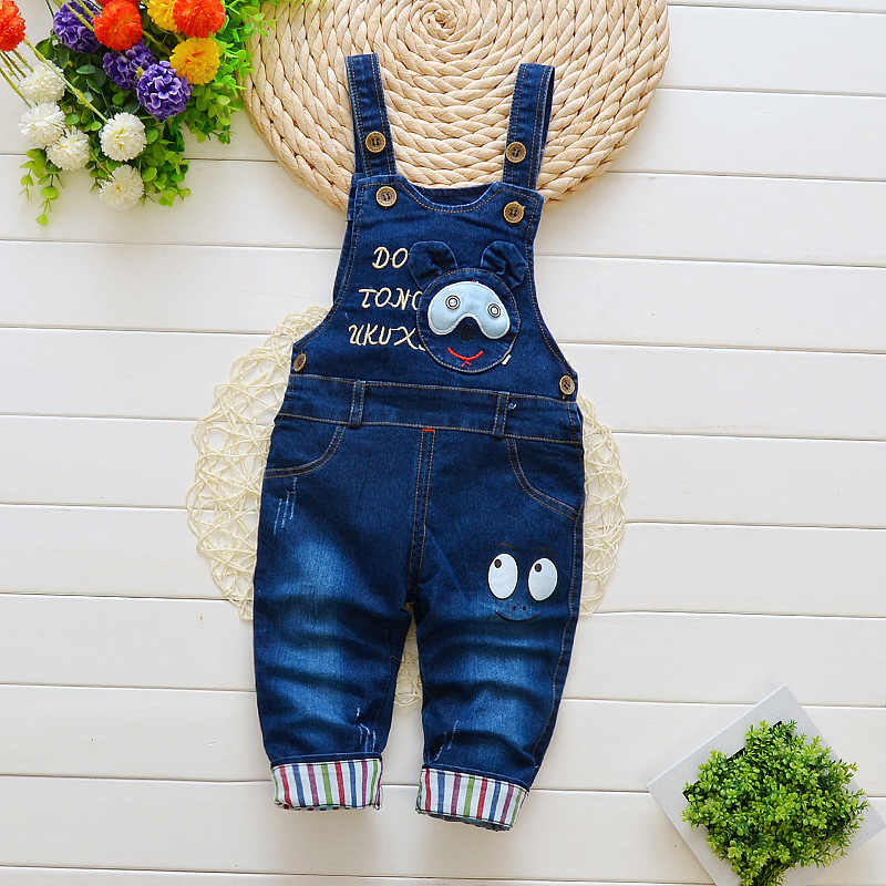 BibiCola  spring autumn Baby boy denim overalls child cartoon pattern bib  pants infant rompers kids jeans jumpsuits clothes