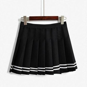 Корейская Летняя мода, юбка с высокой талией, бальная, британский стиль, кавайная, винтажная, короткая юбка в складку, юбки в стиле Харадзюку для женщин - Цвет: Черный