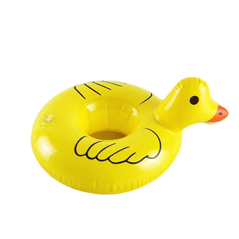 Inflatable Mini yellow duck drink floats Pool Float Inflatable yellow duck cup holder Pool Party drink floats baby swimming Toys