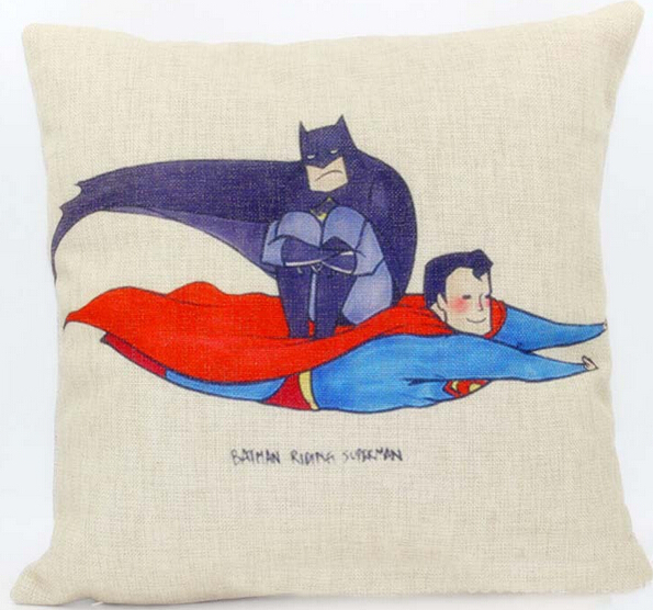 Justice League Throw Pillows : Superman pillow cover, creative superhero Justice League superman batman cartoon throw pillow ...