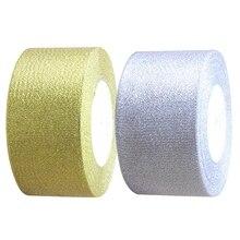 2 рулона шелковая атласная лента для свадебной вечеринки(ширина 50 мм длина 25 ярдов около 22 метров) Золотой/Серебряный