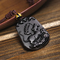 Natural Black Obsidian Pendant Carved Chinese Mascot Zodiac Mouse Pendant Bead Necklace Lucky Amulet Men Women's Jade Jewelry