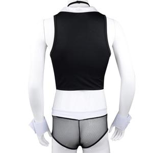 Image 3 - YiZYiF Erkekler Hizmetçi Kıyafetleri tenue seksi homme Eşcinsel Erkekler Cosplay Kostüm Tops Boxer Külot Iç Çamaşırı Yaka Kelepçe iç çamaşırı seti