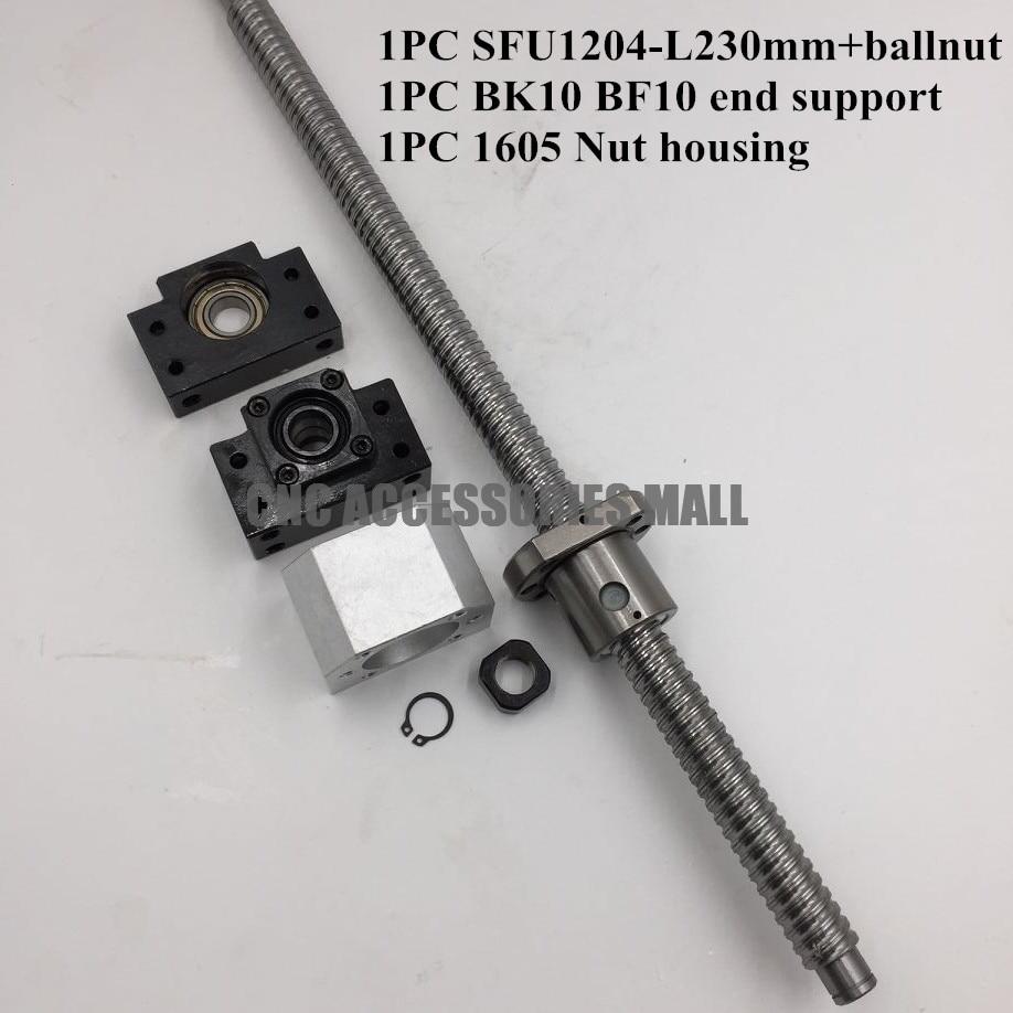 12mm 1204 Ballscrew SFU1204 length 230mm + SFU1204 Ballnut + BK10 BF10 End Support with Nut Bracket for CNC Router