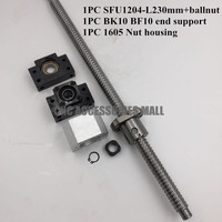 12mm 1204 Ballscrew SFU1204 length 230mm + SFU1204 Ballnut + BK10 BF10 End Support with Nut Bracket for CNC Router