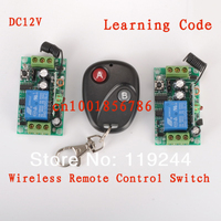 Free Shipping 12V 1ch RF Wireless Remote Control Switch System 2 Receivers Transmitter Learning Code Gateway