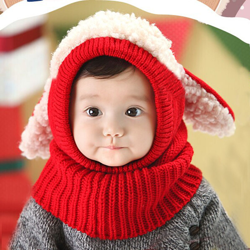 How many optional children's hats Rabbit ears winter cute hat Children's snow thickening scarf hat Monochrome playful bright win