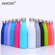 Customization Thermos Bottle For Water Bottles Double-Wall Insulated Vacuum Flask Stainless Steel Cup Outdoor Sports Drinkware cheap AKKOKI Eco-Friendly Stocked PORTABLE Lovers Vacuum Flasks Thermoses Straight Cup CE EU LFGB 6-12 hours 500ml 8 colors matte