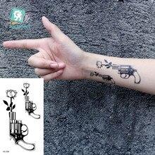 Цветок пистолет временная татуировка Роза Лотос Баллер девушка тату стикер макияж тату фестиваль тату боди-арт тату поддельные татуировки