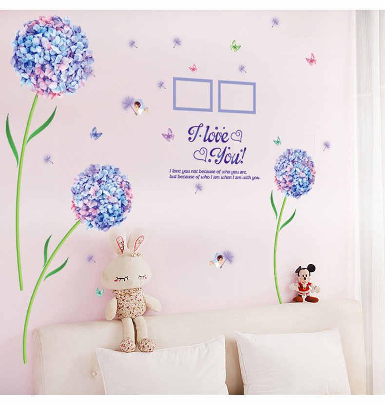 ٪ الأزرق زهرة زنبق الكرة الهندباء DIY إزالة الجدار ملصق غرفة المعيشة مدخل غرفة نوم التلفزيون ديكور حوائط المنزل جدارية صائق ملصق