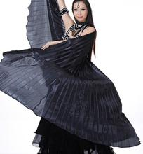 Dance Fairy Belly Dance Silk like Transparent Isis Wings With Sticks Egyptian 360 Degrees Wing Black Orange Pink Free Shipping
