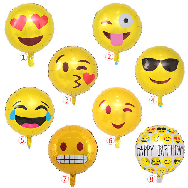Happy Birthday Expression Balloons Funny Emoji Foil Balloon Party Decoration Baby Shower Kids Toy Wholesale