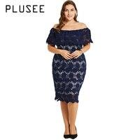 PLUSEE Women Elegant Ruffles Lace Dresses Plus Size High Quality Crochet Off Shoulder Party Midi Dress