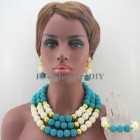 Gorgeous Nigerian Wedding African Ball Beads Classic Women Pearl Mix Ball Beads Jewelry Necklace Sets Free Shipping W13181